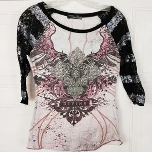4/$24 Angels & Diamonds Burnout Graphic T Shirt